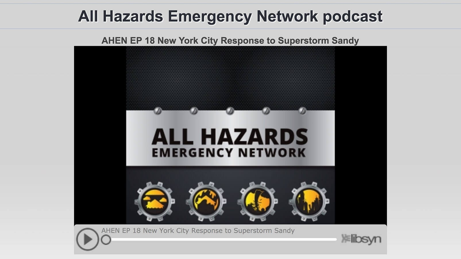 All Hazards Emergency Network Podcast